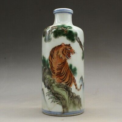"""5.1"""" Chinese Colour Enamels Porcelain Hand Drawing Pine Tree Tiger Snuff Bottle"""