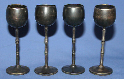 Antique Set 4 Small Silver Plated Goblets