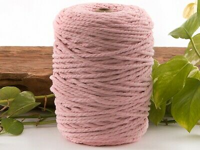 light pink 4mm macrame 3 strand rope 1kg 180m coloured string ply cotton cord