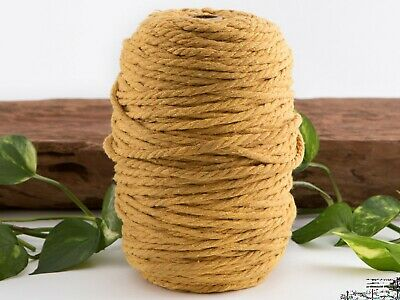 mustard 4mm macrame 3 strand rope 1kg 170m coloured string ply cotton cord