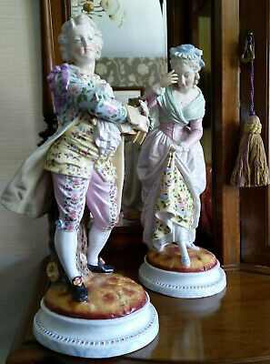 Victorian Porcelain French china large pair Figurines stunning Christmas Gift!!