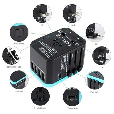 Universal Travel Power Adapter All-In-One International Fast Charger 4 USB Port
