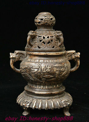 Old Chinese Dynasty Palace Silver Lion Head Dragon Phoenix Incense Burner Censer