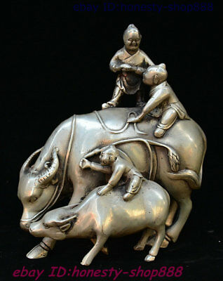 China Silver Ox Bull Oxen Tongzi Boy Kid Babe Child Bairn Fengshui Wealth Statue