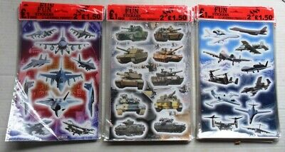 Wholesale 47 Sheets of Stickers : Airplanes, tanks, military aircraft,  new