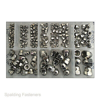 Assorted M4, M5, M6, M8, M10 & M12 Metric A2 Stainless Steel Hex Dome Nuts