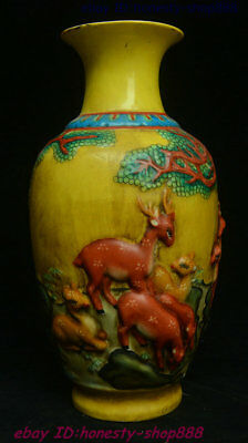 Old Chinese Yellow Glaze Porcelain Deer Flower Bottle Vase Wine Flask Winebottle
