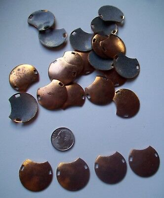24X Copper Blanks for enameling use-  DOMED MOON shape with holes