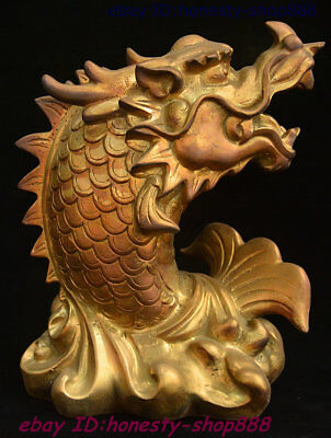 Collect Old Chinese Brass Copper Fengshui Wealth Animal Dragon Fish Beast Statue