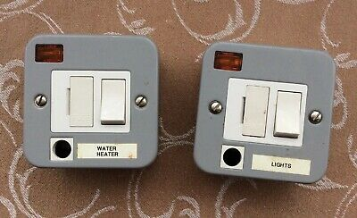 Two x Crabtree 13A Switched Fused Spur with Neon & Flex Outlet Metal Clad (Used)