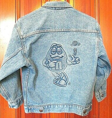 Vintage 90's Girls Jean Denim Jacket M&M's Candy Embossed Youth Medium Size 10