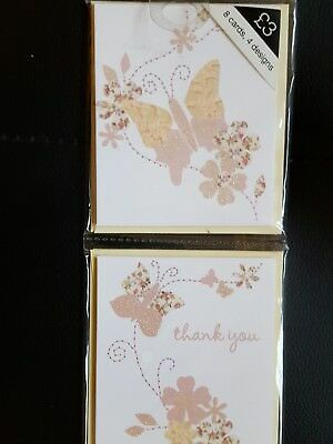 Marks and spencer mini Thank you cards pink butterfly design.