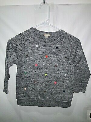 CREWCUTS Girls Blue Heathered Shirt With Jewels On Front Size 10