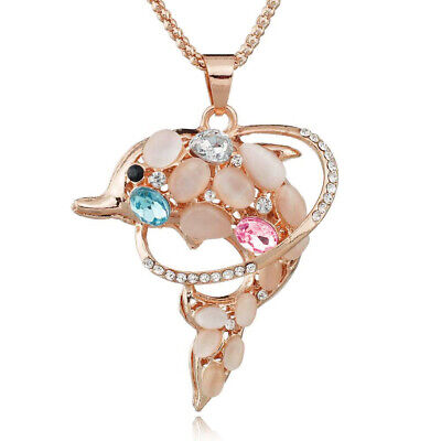 Fashion Jewelry Crystal Opal Dolphin Pend/Chain Rose Gold Sweater Long Necklace