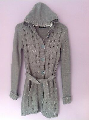 Girls Grey Sparkle Hooded Cardigan Size 10-11 Years George