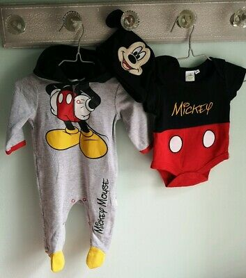Baby Boys Disney Mickey Mouse Hooded Romper, Vest & Hat Outfit Size 0-3 Months
