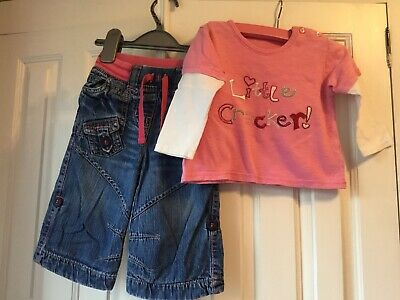 Girls Next Lined Winter Jeans And George Top 6-9 Months