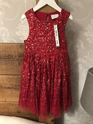 BNWT Next Signature Girls 5 Years Red Sequin Luxury Christmas Party Dress RRP£48