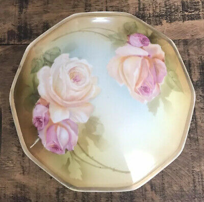 Antique RS GERMANY LIDDED PORCELAIN BOWL Dish ROSES Hand Painted~~Green Mark