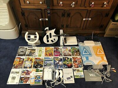 Nintendo Wii Lot White Console, 20 Games 6 Controllers,Guitar,Tablet,Mat,Wheel