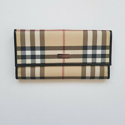 """Burberry Womens Multi Coloured Check and Leather Wallet. Width 7.5"""" Height 4"""""""