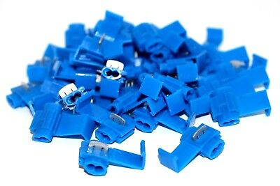 100 QTY Low Voltage Blue Scotch Lock Type Electrical Cable Splice Connector