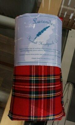 Herbal  Microwave Heat Pack Lavender Red Tartan  Pain Relief Neck Body New