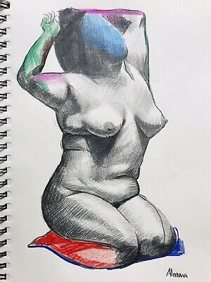 Women Nude-Pencil Drawing- Original Fine Art- By Osmel Almora-Signed 10x8