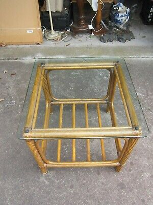 Vintage Retro 2 Tier Cane & Glass Top Square Occasional Side Lamp Table