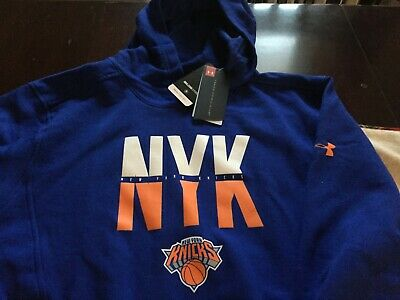 Mens Under Armour Coldgear New York Knicks Combine Hoodie Xl Blue Nwt