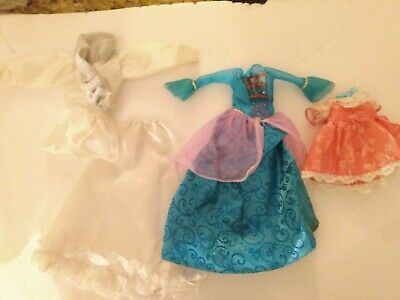 Barbie Doll Disney Princess Lot Dress Gown 2pc White Outfit Clothes