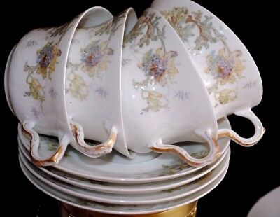 Antg Theodore  Haviland Limoges France Floral Gold Lot 4 Tea Cup Saucer Sets