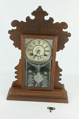 "Antique Waterbury Clock Company 22"" Gingerbread Wood Case Mantle Clock w/ Key"