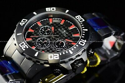 Invicta Men's 50mm Pro Diver Triple Black With Red Markers Chronograph SS Watch