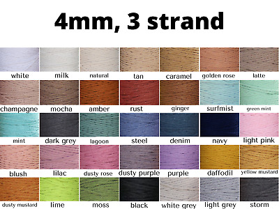 4mm macrame cord twisted rope coloured string 3 strand ply cotton diy australia