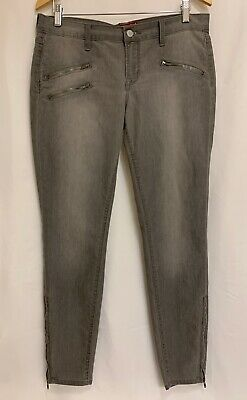 New LUCKY BRAND Moto Jean Charlie Super Skinny Gray Stretch Ankle Zip Size 8 10