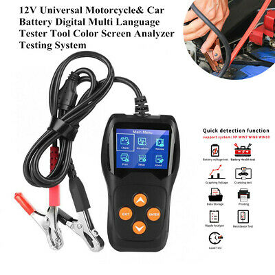 12V Motorcycle & Car Battery Digital Tester Tool Analyzer Testing System Device