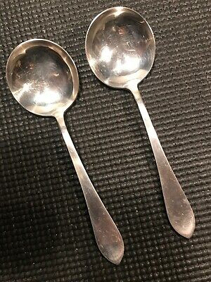 Antique Frank M. Whiting 2 Soup Spoons ''Adams'' Sterling Silver Flatware