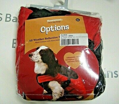 Rosewood All Weather Dog Coat Water resistant Reflective strip 22-24-inch Red