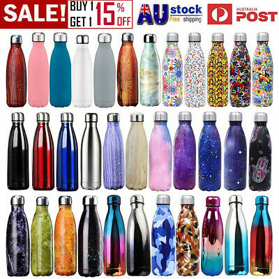 350ml-1L Stainless Steel Vacuum Insulated Bottle Water Drinks Flask Thermoses AU