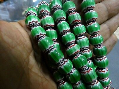 Very Old Green Color Oval Mosaic Roman Glass Beaded Necklaces  Roman Glass