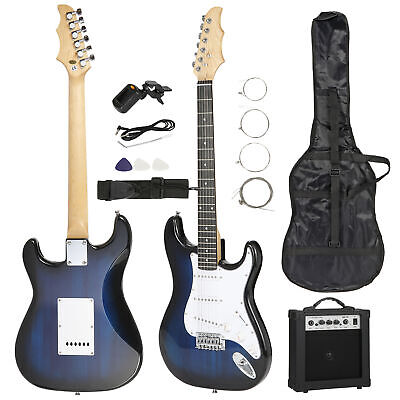 "39"" Full Size Blue Electric Guitar with Amp, Case and Accessories Pack Beginner"