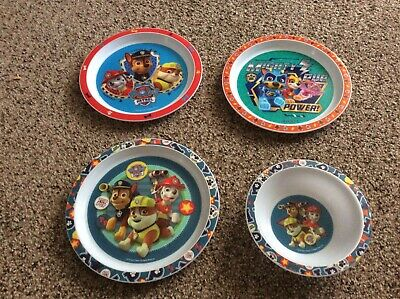 Paw patrol plastic plates x 3 and one bowl used