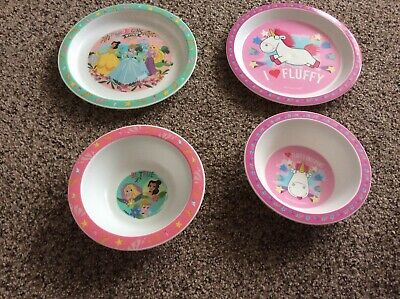 moxed lot two plates two bowls unicorns and princesses used