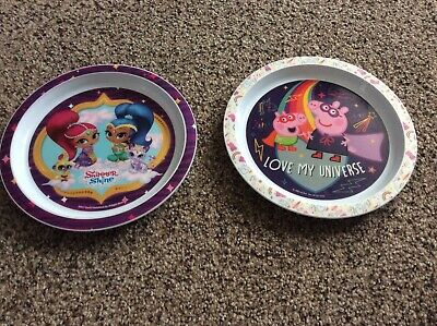 Two mixed plates used pepper pig and shimmer shine used