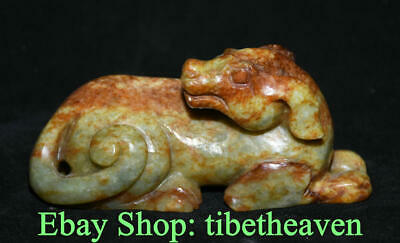 "4.8"" Old Chinese Nephrite Hetian Jade Carving 12 Zodiac Year Dog Statue Luck"
