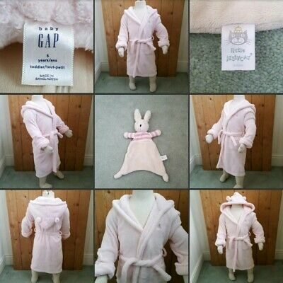 *Used* Lovely Girls Pink Fluffy Dressing Gown▪GAP▪5 Yrs~Bedtime & Jellycat Teddy