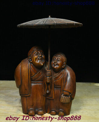 Collect Old China Natural Boxwood Wood Carving Spouse man and wife People Statue