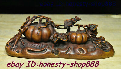Collect Antique China Natural Boxwood Wood Carving Old Auspicious Pumpkin Statue