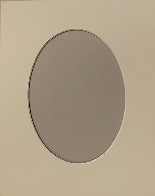 "2 x 7"" x 5"" Oval Aperture, Soft White, 10/8"" Photo/Picture Mount Card."